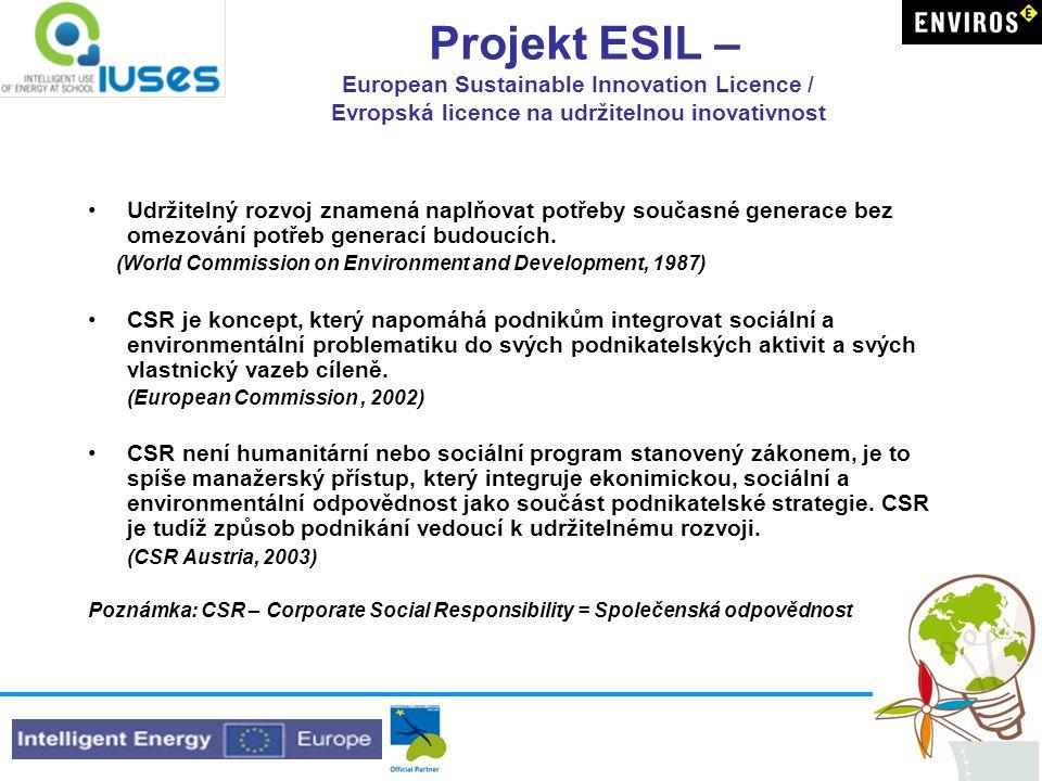 Projekt ESIL – European Sustainable Innovation Licence / Evropská licence na udržitelnou inovativnost Udržitelný rozvoj znamená naplňovat potřeby současné generace bez omezování potřeb generací budoucích.