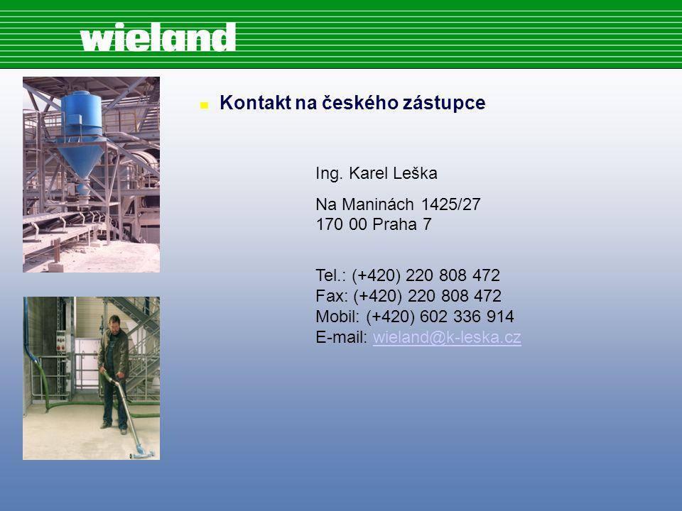 n Kontakt na českého zástupce Ing.