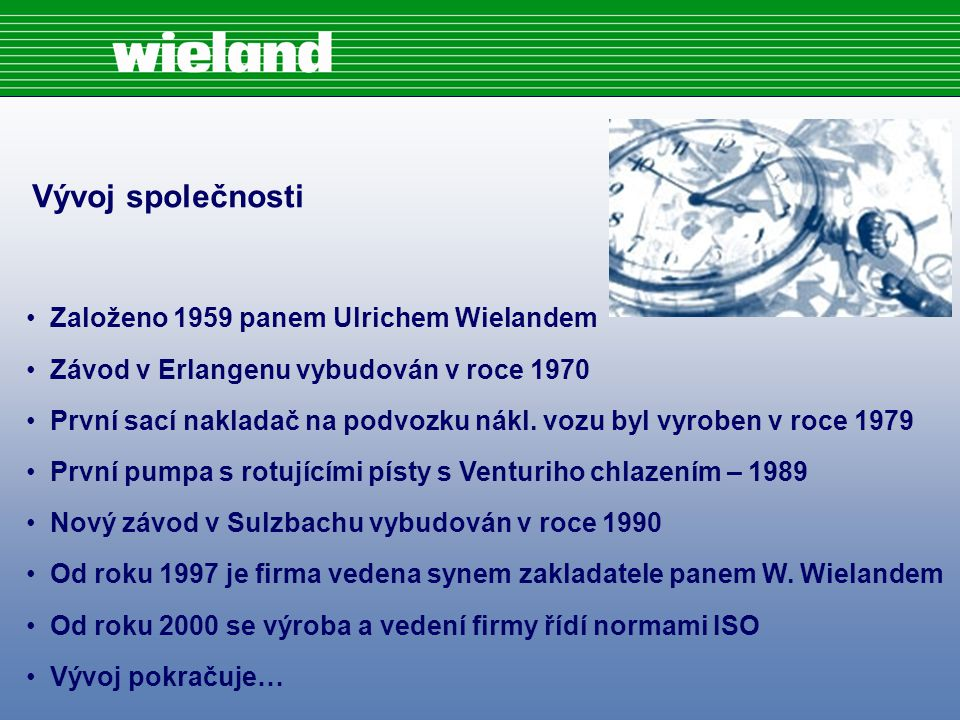 Vývoj společnosti Založeno 1959 panem Ulrichem Wielandem Závod v Erlangenu vybudován v roce 1970 První sací nakladač na podvozku nákl.