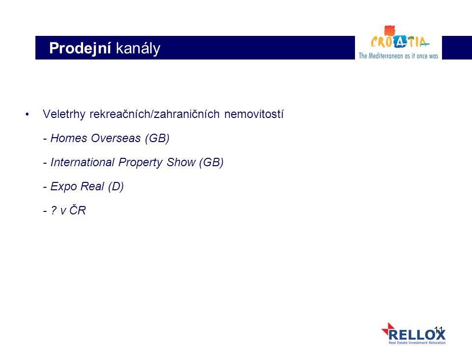 11 Veletrhy rekreačních/zahraničních nemovitostí - Homes Overseas (GB) - International Property Show (GB) - Expo Real (D) - ? v ČR Prodejní kanály