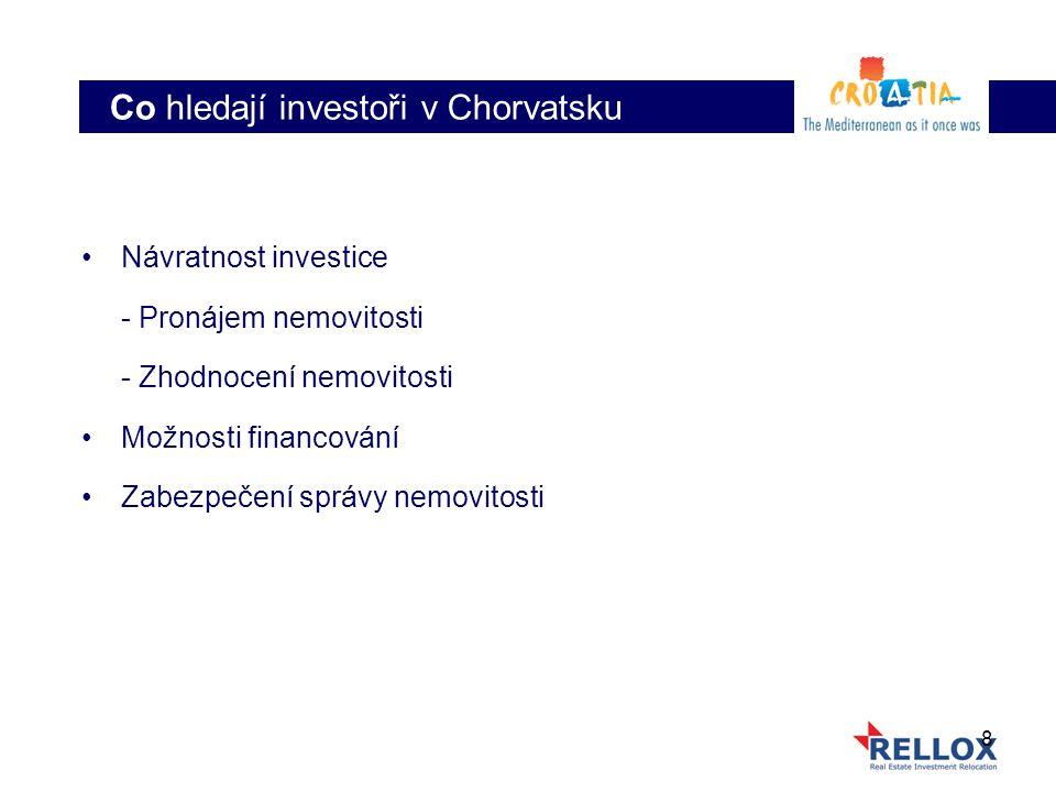 8 Návratnost investice - Pronájem nemovitosti - Zhodnocení nemovitosti Možnosti financování Zabezpečení správy nemovitosti Co hledají investoři v Chorvatsku
