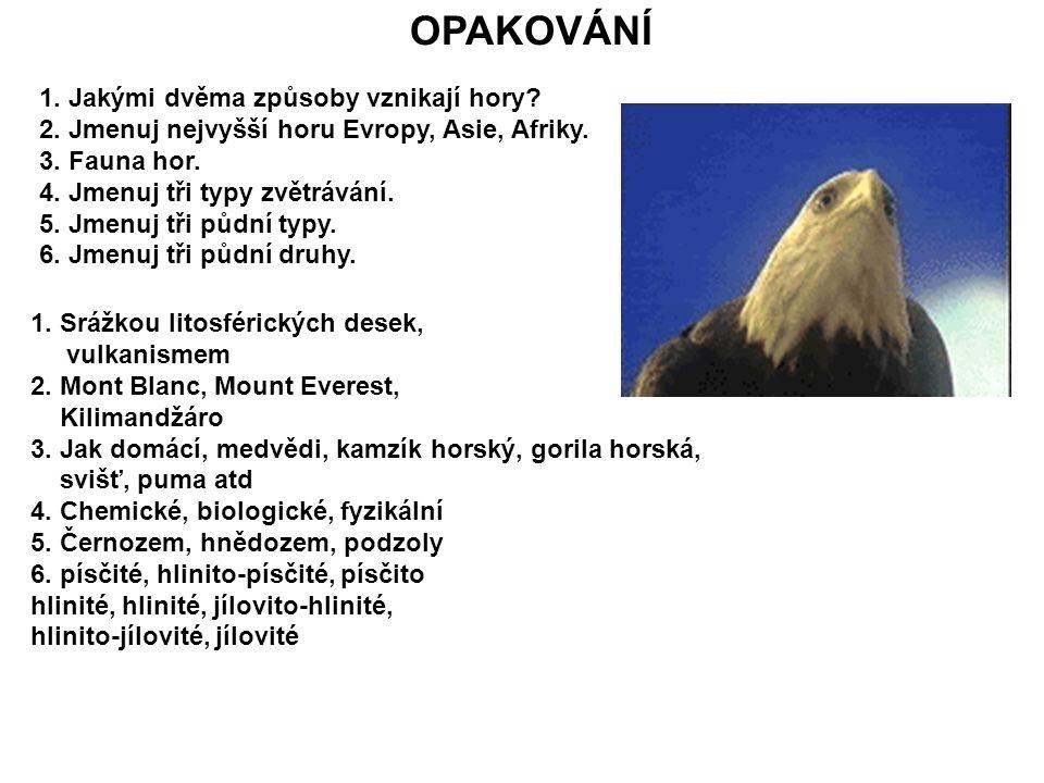 1. Jakými dvěma způsoby vznikají hory? 2. Jmenuj nejvyšší horu Evropy, Asie, Afriky. 3. Fauna hor. 4. Jmenuj tři typy zvětrávání. 5. Jmenuj tři půdní