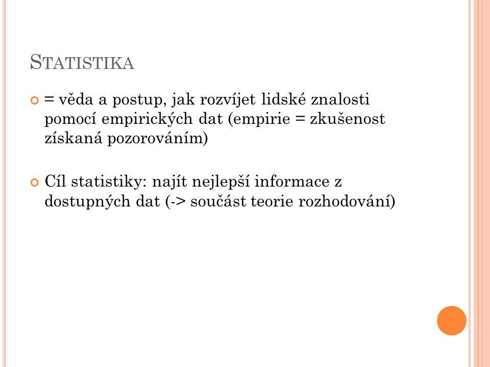 S TATISTIKA = věda a postup, jak rozvíjet lidské znalosti pomocí empirických dat (empirie = zkušenost získaná pozorováním) Cíl statistiky: najít nejlepší informace z dostupných dat (-> součást teorie rozhodování)