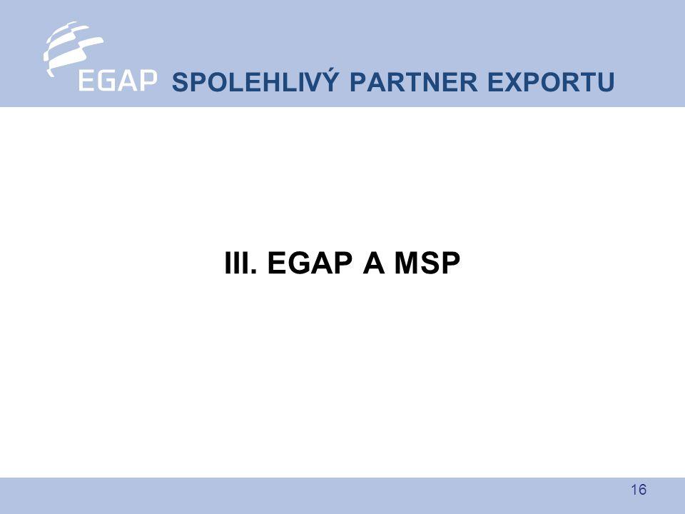 16 III. EGAP A MSP SPOLEHLIVÝ PARTNER EXPORTU