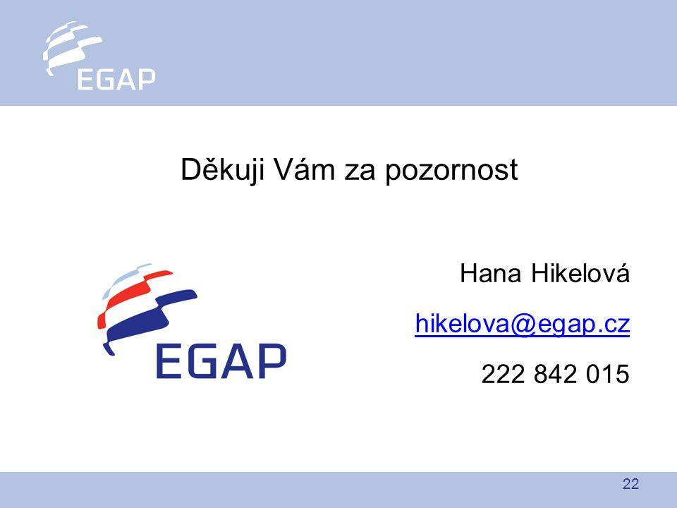 22 Děkuji Vám za pozornost Hana Hikelová hikelova@egap.cz 222 842 015