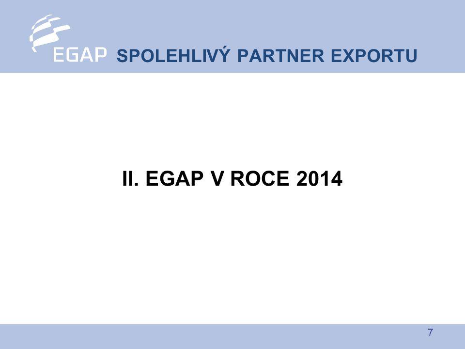 18 EGAP pojišťuje MSP napřímo, ovšem většina z nich je již klienty komerčních úvěrových pojišťoven EGAP nabídl spolupráci při propagaci úvěrového pojištění a možnost zajišťování transakcí pro klienty komerčních úvěrových pojišťoven V září 2014 uzavřena smlouva s úvěrovou pojišťovnou KUPEG Zároveň osloveny ostatní komerční úvěrové pojišťovny s nabídkou uzavření obdobné smlouvy MSP i komerční úvěrové pojišťovny tak budou moci pojišťovat i tržně nezajistitelná rizika ZAJISTNÁ SMLOUVA S KUPEG