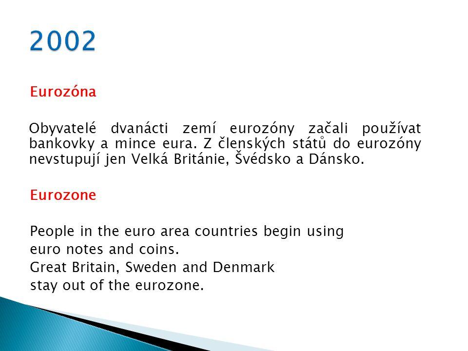 1999 Zavedení eura1999 The single currency euro 2001 Smlouva z Nice2001 The Treaty of Nice 2002 Eurozóna2002 Eurozone 2002 Zasedání v Kodani 2002 The Copenhagen European Council 2002 Kjótský protokol2002 Kyoto Protocol