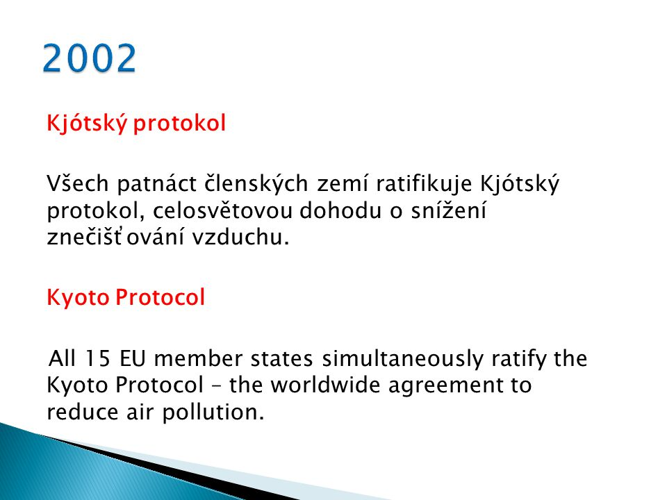 Kjótský protokol Všech patnáct členských zemí ratifikuje Kjótský protokol, celosvětovou dohodu o snížení znečišťování vzduchu.