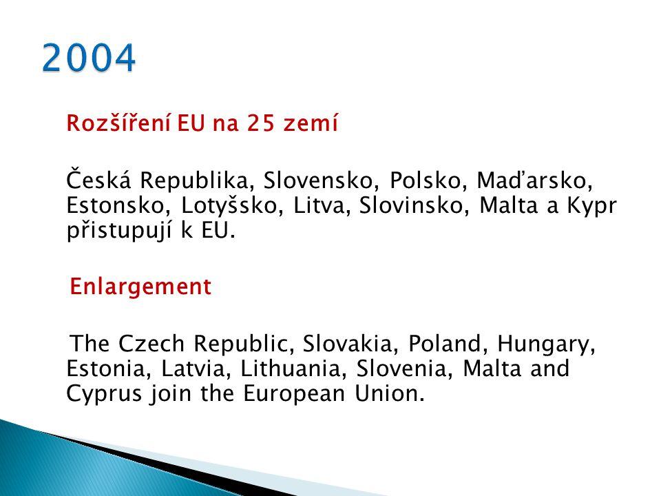 Rozšíření EU na 25 zemí Česká Republika, Slovensko, Polsko, Maďarsko, Estonsko, Lotyšsko, Litva, Slovinsko, Malta a Kypr přistupují k EU.