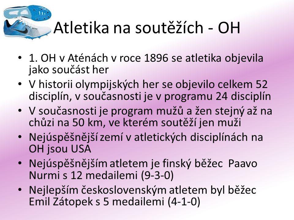 Atletika na soutěžích - OH 1. OH v Aténách v roce 1896 se atletika objevila jako součást her V historii olympijských her se objevilo celkem 52 discipl