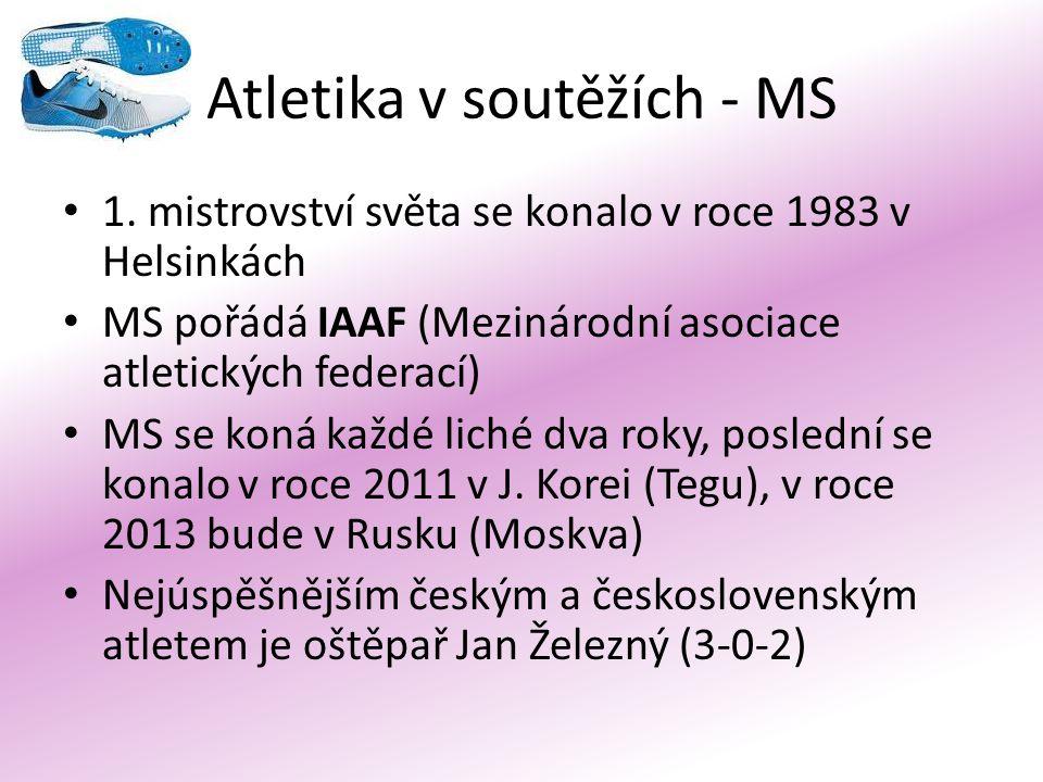 Atletika v soutěžích - MS 1. mistrovství světa se konalo v roce 1983 v Helsinkách MS pořádá IAAF (Mezinárodní asociace atletických federací) MS se kon