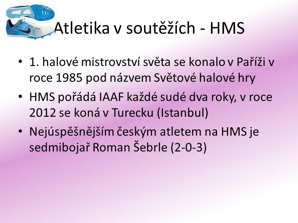 Atletika v soutěžích - HMS 1. halové mistrovství světa se konalo v Paříži v roce 1985 pod názvem Světové halové hry HMS pořádá IAAF každé sudé dva rok