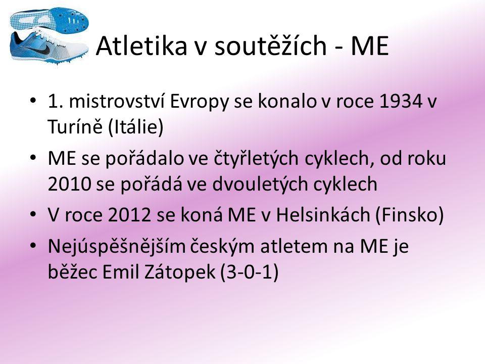Atletika v soutěžích - ME 1. mistrovství Evropy se konalo v roce 1934 v Turíně (Itálie) ME se pořádalo ve čtyřletých cyklech, od roku 2010 se pořádá v