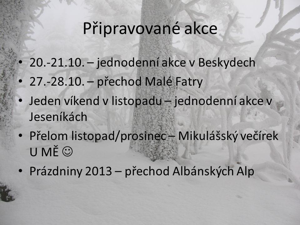 Připravované akce 20.-21.10. – jednodenní akce v Beskydech 27.-28.10.