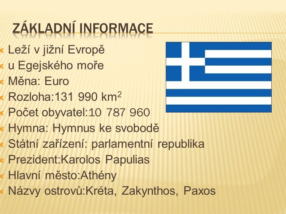  Leží v jižní Evropě  u Egejského moře  Měna: Euro  Rozloha:131 990 km 2  Počet obyvatel: 10 787 960  Hymna: Hymnus ke svobodě  Státní zařízení