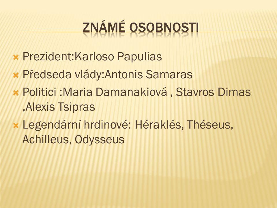  Prezident:Karloso Papulias  Předseda vlády:Antonis Samaras  Politici :Maria Damanakiová, Stavros Dimas,Alexis Tsipras  Legendární hrdinové: Hérak