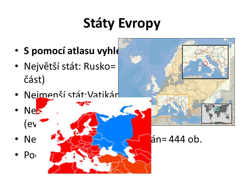 Státy Evropy S pomocí atlasu vyhledej Největší stát: Rusko= cca 4mil km² (Evropská část) Nejmenší stát:Vatikán= 0,44 km² Nejvyšší počet obyvatel: Rusko= 107mil.