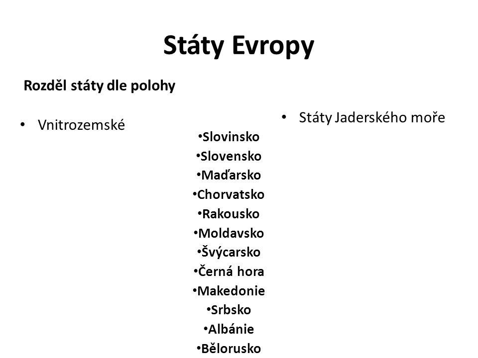 Státy Evropy Rozděl státy dle polohy Vnitrozemské Slovinsko Slovensko Maďarsko Chorvatsko Rakousko Moldavsko Švýcarsko Černá hora Makedonie Srbsko Albánie Bělorusko Státy Jaderského moře