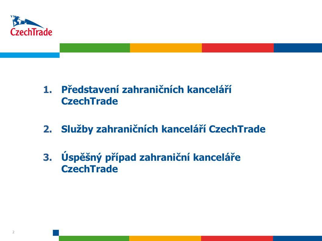 2 1.Představení zahraničních kanceláří CzechTrade 2.Služby zahraničních kanceláří CzechTrade 3.Úspěšný případ zahraniční kanceláře CzechTrade 2