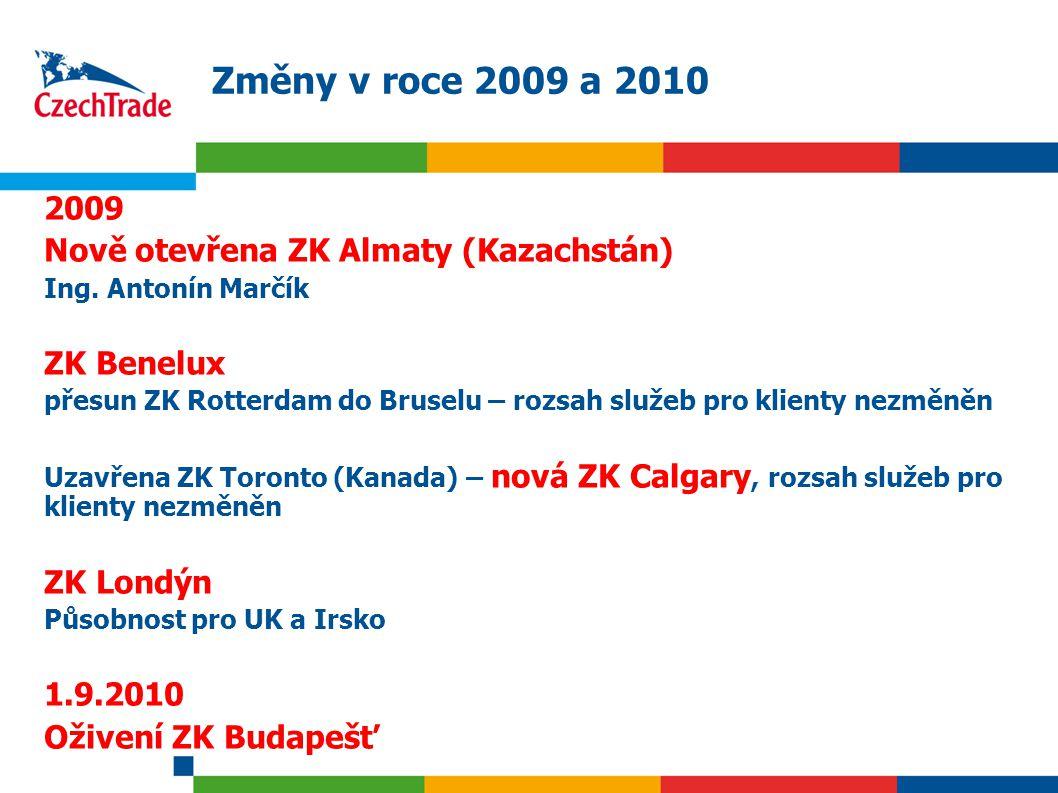 4 Změny v roce 2009 a 2010 2009 Nově otevřena ZK Almaty (Kazachstán) Ing. Antonín Marčík ZK Benelux přesun ZK Rotterdam do Bruselu – rozsah služeb pro