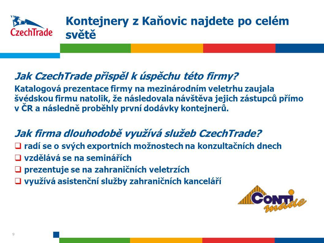 9 Kontejnery z Kaňovic najdete po celém světě Jak CzechTrade přispěl k úspěchu této firmy? Katalogová prezentace firmy na mezinárodním veletrhu zaujal