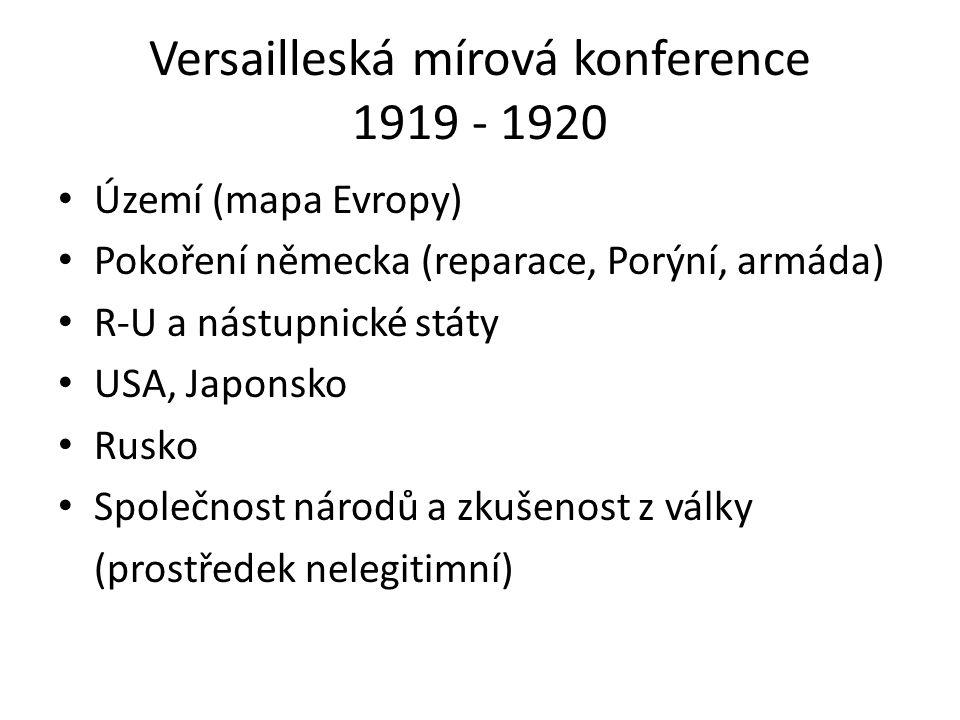 Versailleská mírová konference 1919 - 1920 Území (mapa Evropy) Pokoření německa (reparace, Porýní, armáda) R-U a nástupnické státy USA, Japonsko Rusko Společnost národů a zkušenost z války (prostředek nelegitimní)