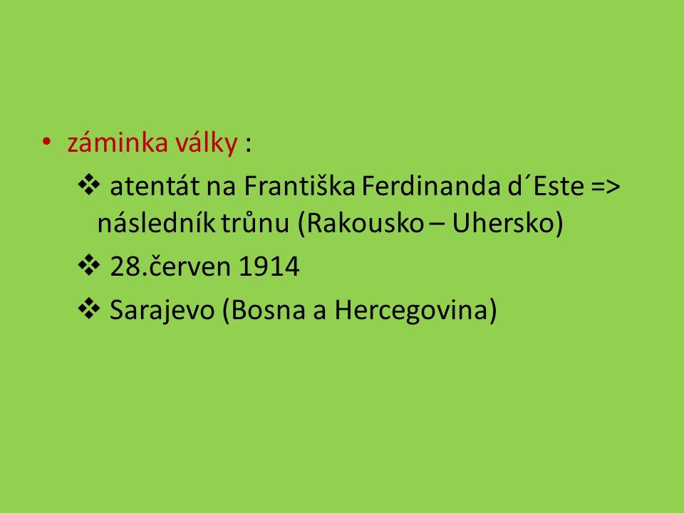 záminka války :  atentát na Františka Ferdinanda d´Este => následník trůnu (Rakousko – Uhersko)  28.červen 1914  Sarajevo (Bosna a Hercegovina)