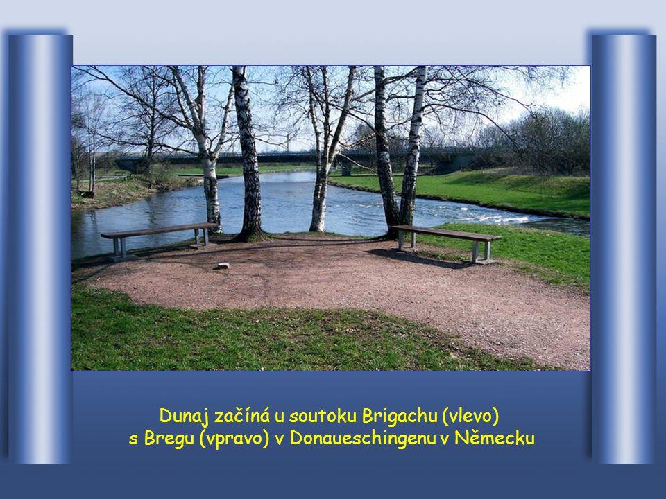 Dunaj má délku 2.850 km a je druhý nejdelší po Volze v Evropě. Pramení ve Schwarzwaldu, na 60 km SV od Bodamsee, v Donauschingen na soutoku Brigach a