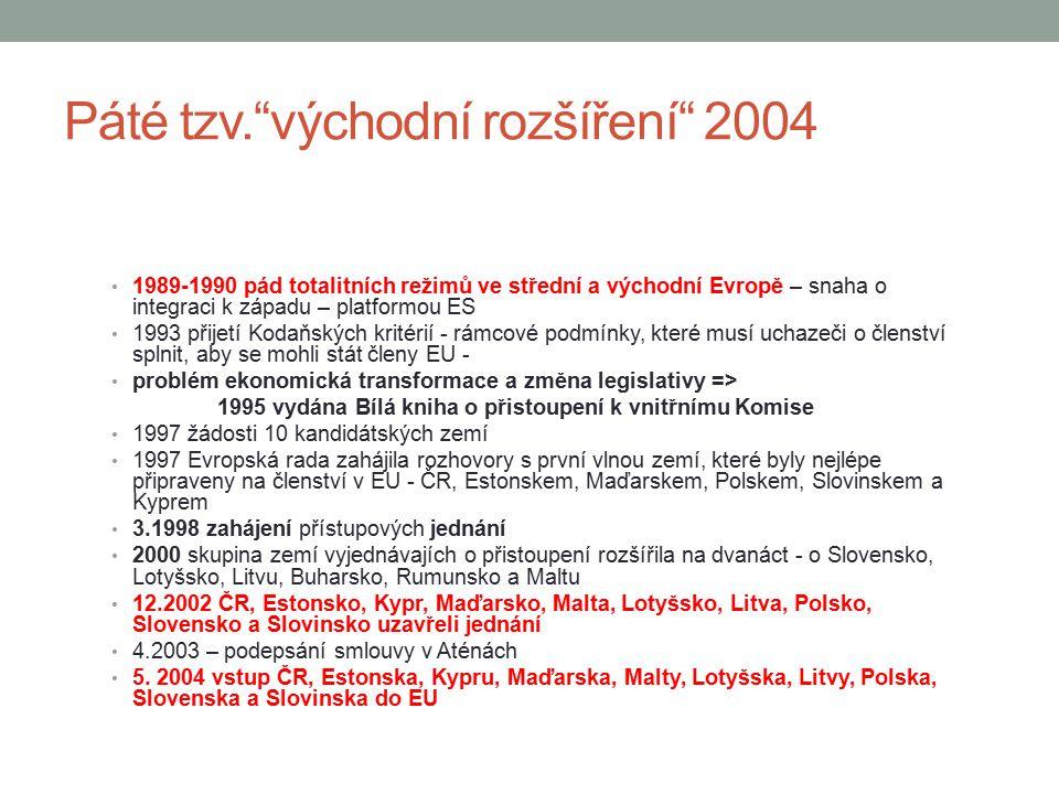 """Páté tzv.""""východní rozšíření"""" 2004 1989-1990 pád totalitních režimů ve střední a východní Evropě – snaha o integraci k západu – platformou ES 1993 při"""