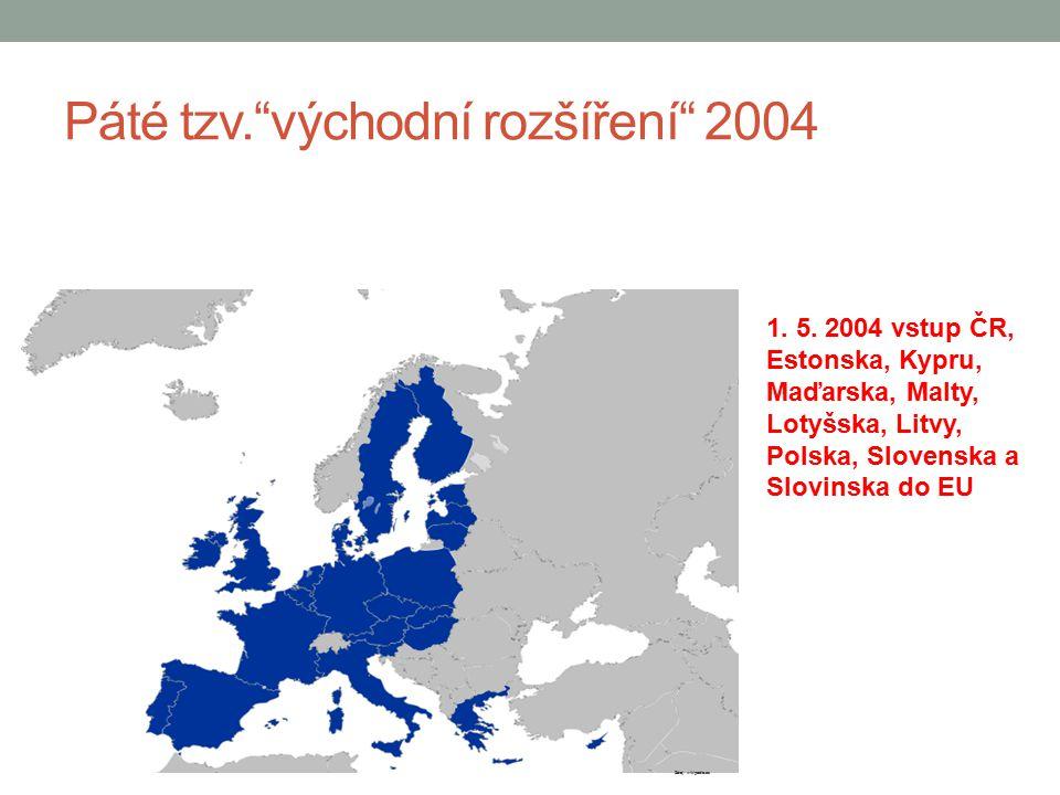 """Páté tzv.""""východní rozšíření"""" 2004 1. 5. 2004 vstup ČR, Estonska, Kypru, Maďarska, Malty, Lotyšska, Litvy, Polska, Slovenska a Slovinska do EU Zdroj:"""