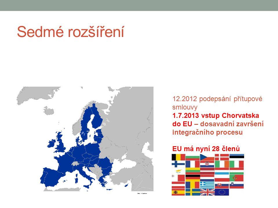 Sedmé rozšíření 12.2012 podepsání přítupové smlouvy 1.7.2013 vstup Chorvatska do EU – dosavadní završení integračního procesu EU má nyní 28 členů Zdro