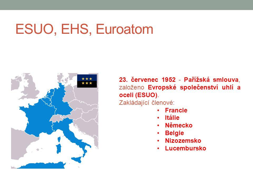 ESUO, EHS, Euroatom 23. červenec 1952 - Pařížská smlouva, založeno Evropské společenství uhlí a oceli (ESUO). Zakládající členové: Francie Itálie Něme