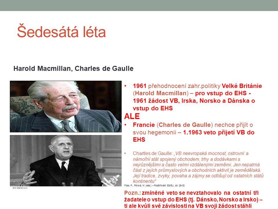 Šedesátá léta Harold Macmillan, Charles de Gaulle 1961 přehodnocení zahr.politiky Velké Británie (Harold Macmillan) – pro vstup do EHS - 1961 žádost V