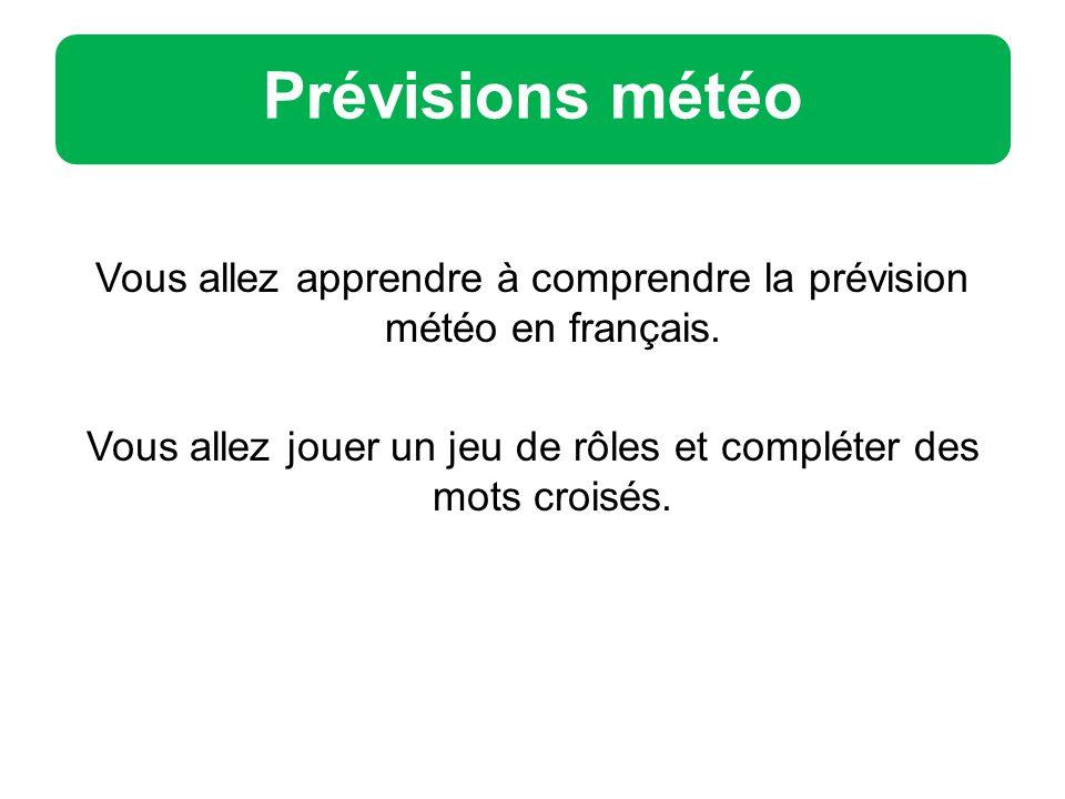 Prévisions météo Vous allez apprendre à comprendre la prévision météo en français.
