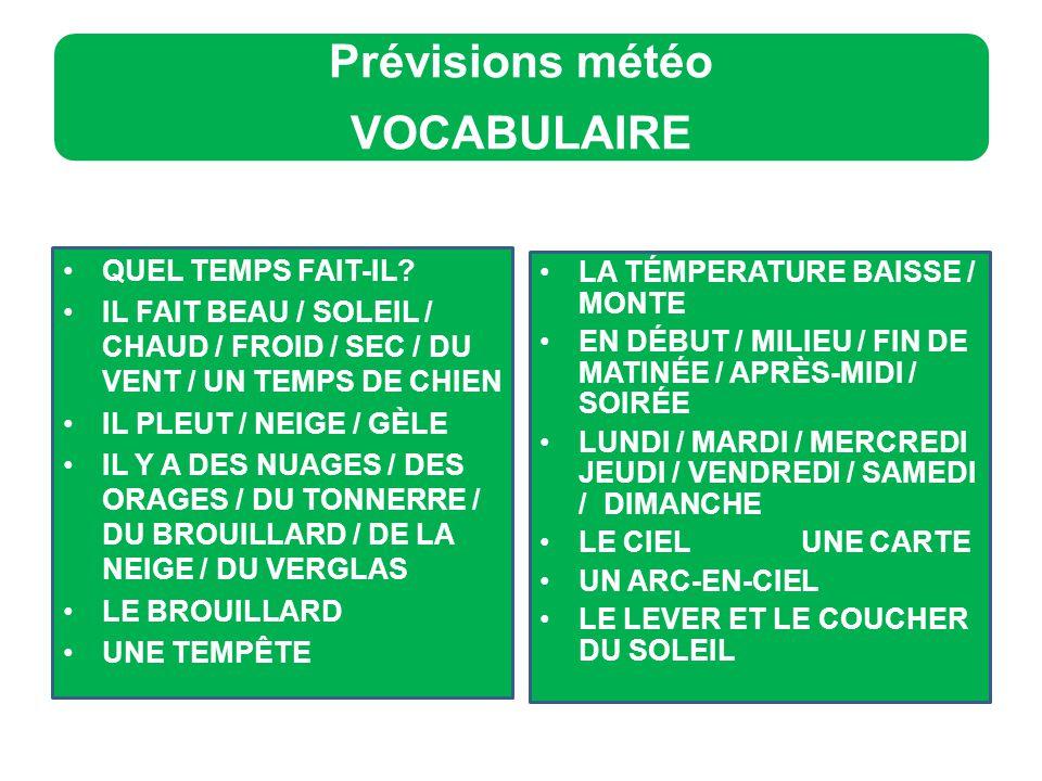 Prévisions météo VOCABULAIRE QUEL TEMPS FAIT-IL.