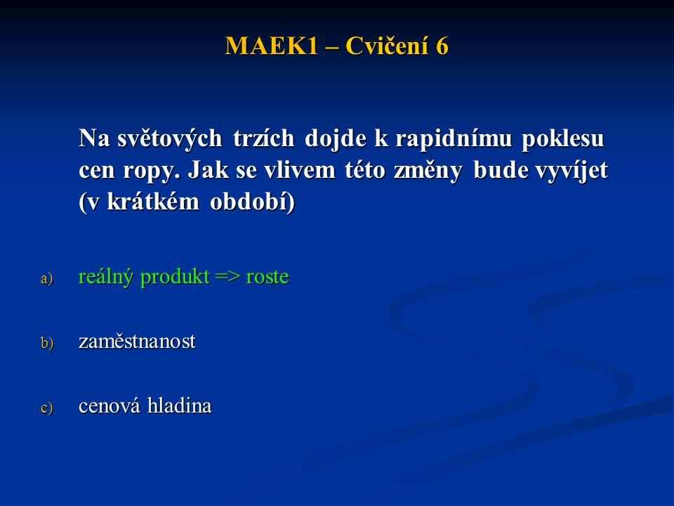 MAEK1 – Cvičení 6 Jaký dopad bude mít zhodnocení měny na: a) křivku agregátní poptávky b) křivku krátkodobé agregátní poptávky