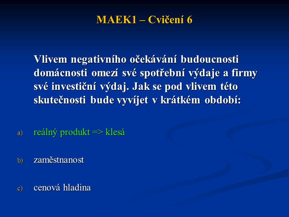 MAEK1 – Cvičení 6 Vlivem negativního očekávání budoucnosti domácnosti omezí své spotřební výdaje a firmy své investiční výdaj.