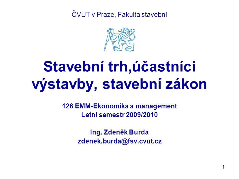Stavební trh,účastníci výstavby, stavební zákon 126 EMM-Ekonomika a management Letní semestr 2009/2010 Ing.
