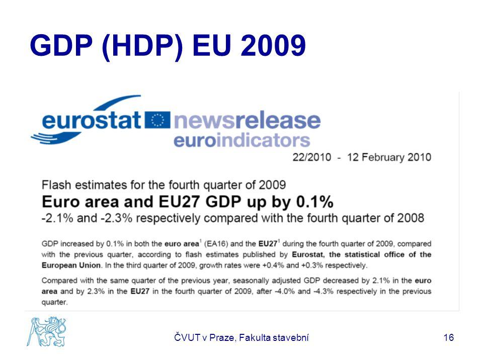 GDP (HDP) EU 2009 ČVUT v Praze, Fakulta stavební16