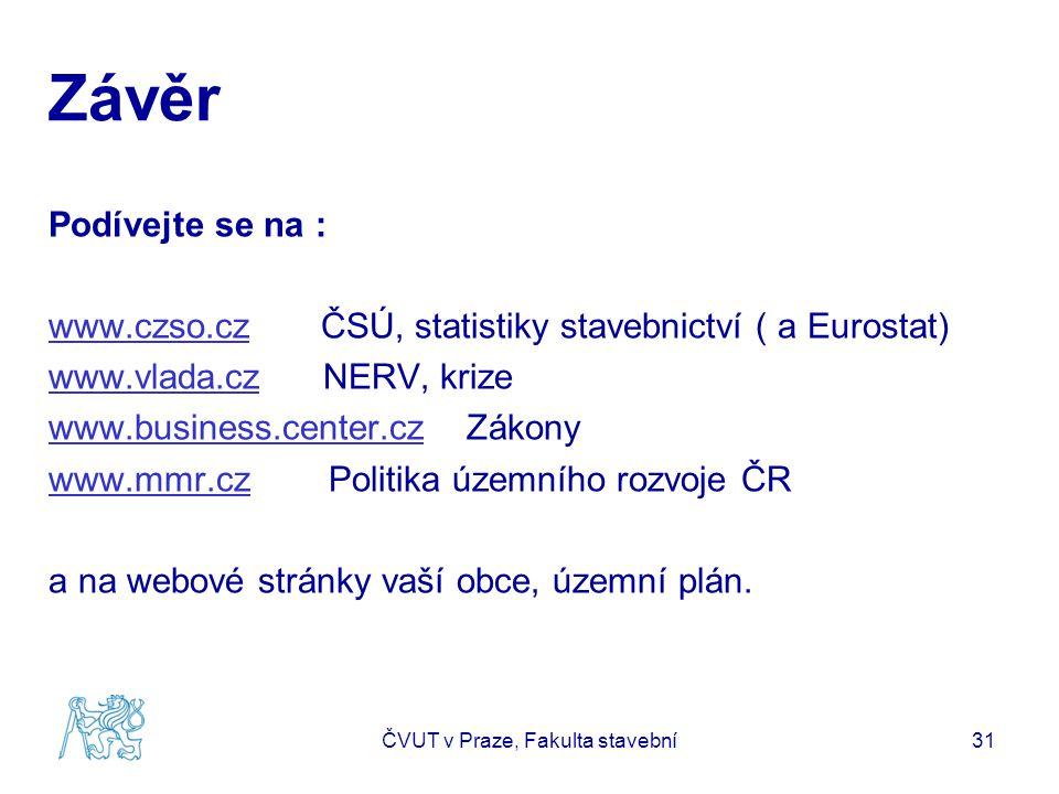 Závěr Podívejte se na : www.czso.czwww.czso.cz ČSÚ, statistiky stavebnictví ( a Eurostat) www.vlada.czwww.vlada.cz NERV, krize www.business.center.czw