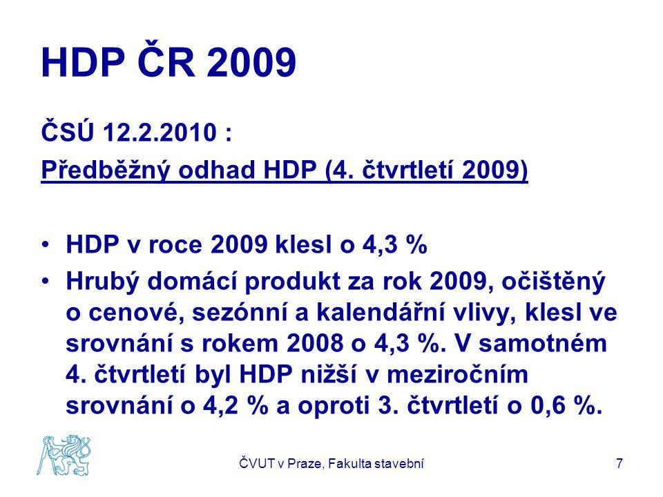 HDP ČR 2009 ČSÚ 12.2.2010 : Předběžný odhad HDP (4. čtvrtletí 2009) HDP v roce 2009 klesl o 4,3 % Hrubý domácí produkt za rok 2009, očištěný o cenové,