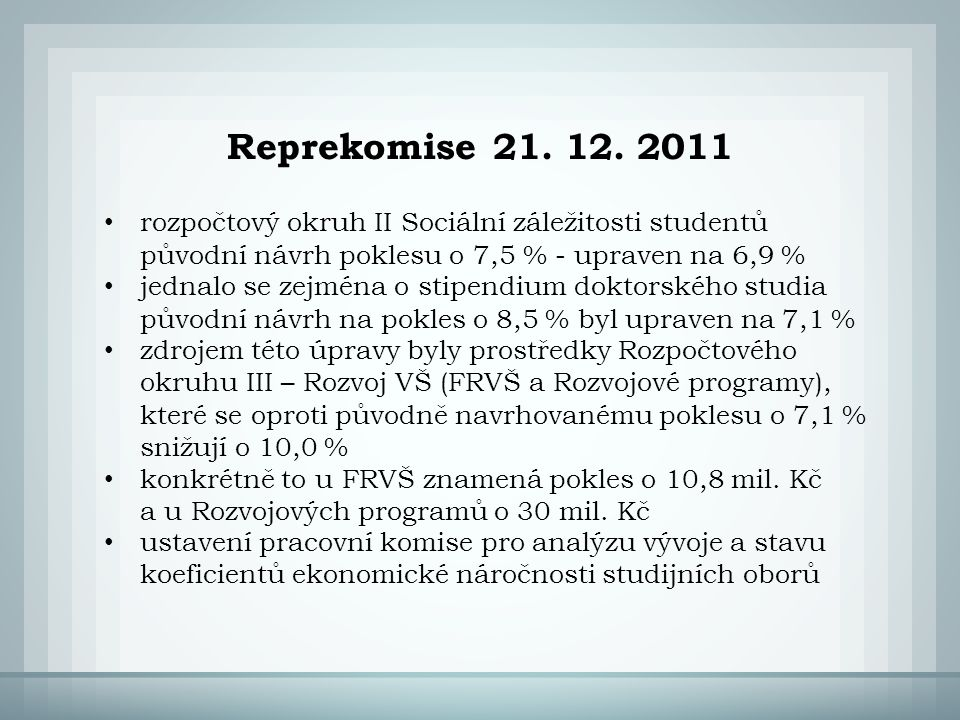 Reprekomise 21. 12.