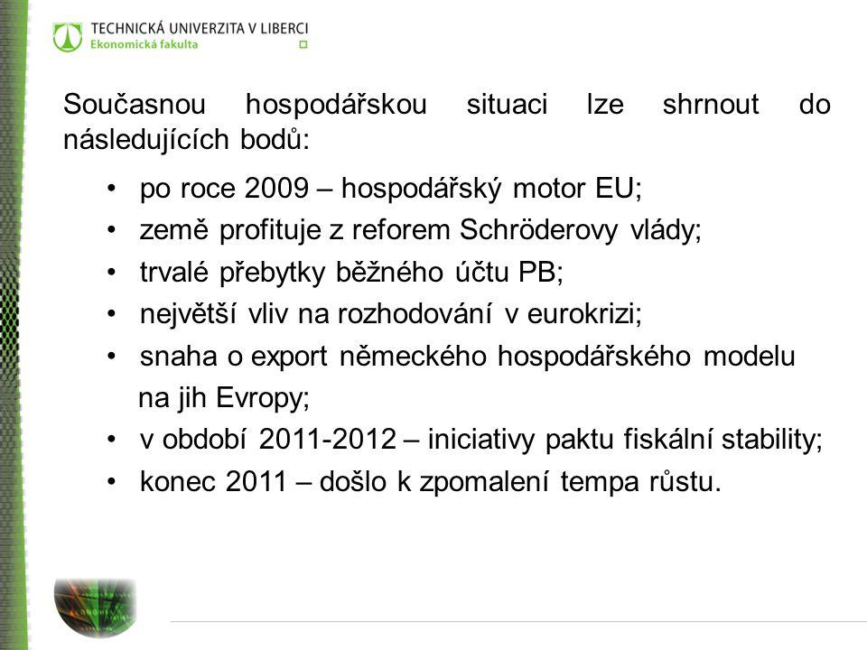 Současnou hospodářskou situaci lze shrnout do následujících bodů: po roce 2009 – hospodářský motor EU; země profituje z reforem Schröderovy vlády; trv