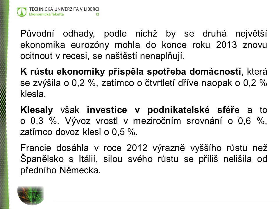 Původní odhady, podle nichž by se druhá největší ekonomika eurozóny mohla do konce roku 2013 znovu ocitnout v recesi, se naštěstí nenaplňují. K růstu