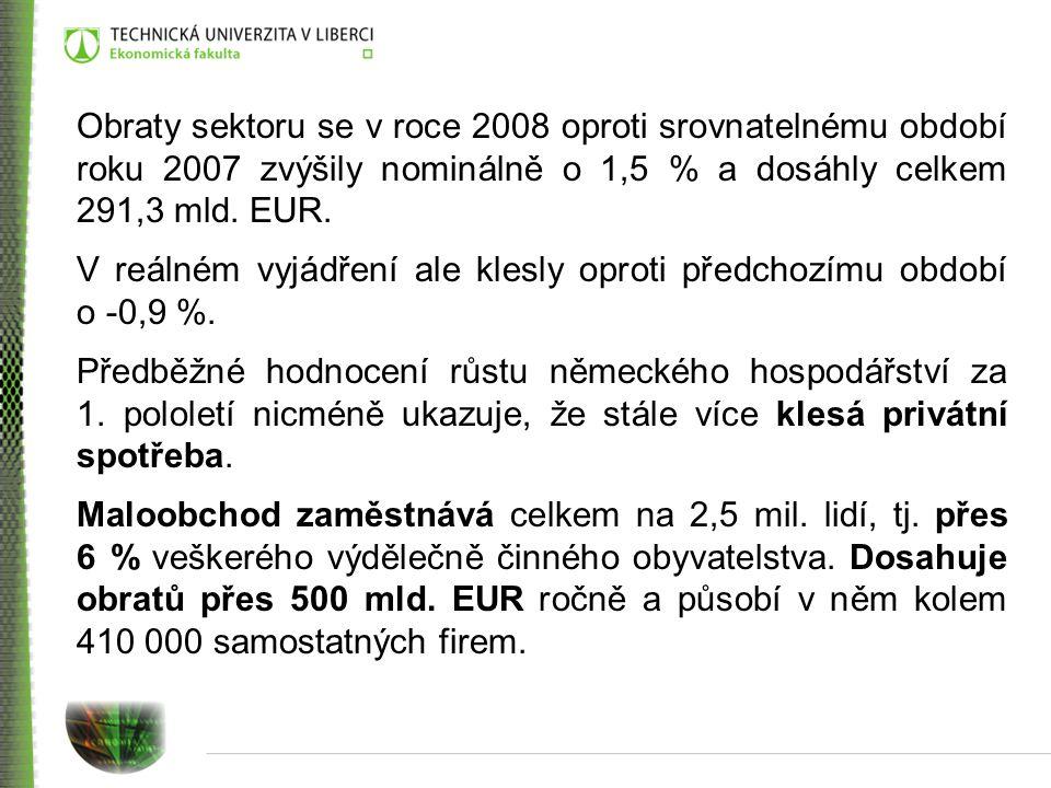 Obraty sektoru se v roce 2008 oproti srovnatelnému období roku 2007 zvýšily nominálně o 1,5 % a dosáhly celkem 291,3 mld. EUR. V reálném vyjádření ale