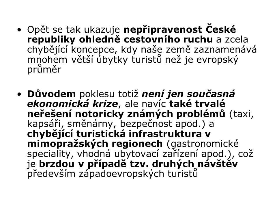 Opět se tak ukazuje nepřipravenost České republiky ohledně cestovního ruchu a zcela chybějící koncepce, kdy naše země zaznamenává mnohem větší úbytky
