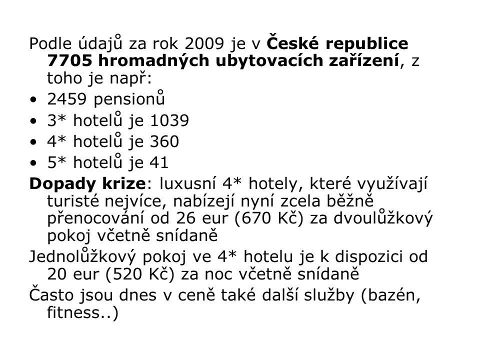 Podle údajů za rok 2009 je v České republice 7705 hromadných ubytovacích zařízení, z toho je např: 2459 pensionů 3* hotelů je 1039 4* hotelů je 360 5*