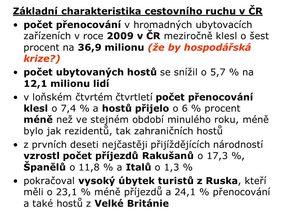 Základní charakteristika cestovního ruchu v ČR počet přenocování v hromadných ubytovacích zařízeních v roce 2009 v ČR meziročně klesl o šest procent n
