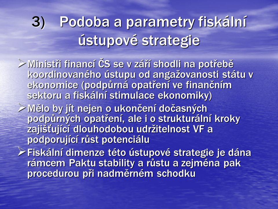 3)Podoba a parametry fiskální ústupové strategie  Ministři financí ČS se v září shodli na potřebě koordinovaného ústupu od angažovanosti státu v ekonomice (podpůrná opatření ve finančním sektoru a fiskální stimulace ekonomiky)  Mělo by jít nejen o ukončení dočasných podpůrných opatření, ale i o strukturální kroky zajišťující dlouhodobou udržitelnost VF a podporující růst potenciálu  Fiskální dimenze této ústupové strategie je dána rámcem Paktu stability a růstu a zejména pak procedurou při nadměrném schodku