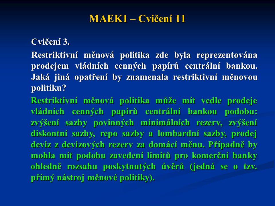 MAEK1 – Cvičení 11 Cvičení 3. Restriktivní měnová politika zde byla reprezentována prodejem vládních cenných papírů centrální bankou. Jaká jiná opatře